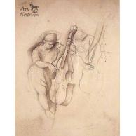 Étude / Jouer de Contrabasse / Femme au violoncelle (c.1924)